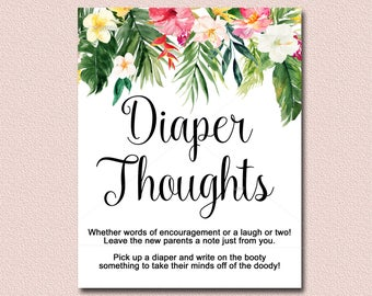 Luau diaper shower etsy tropical baby shower diaper thoughts game sign printable luau baby shower activity floral hawaiian baby shower diy instant download 040 m4hsunfo