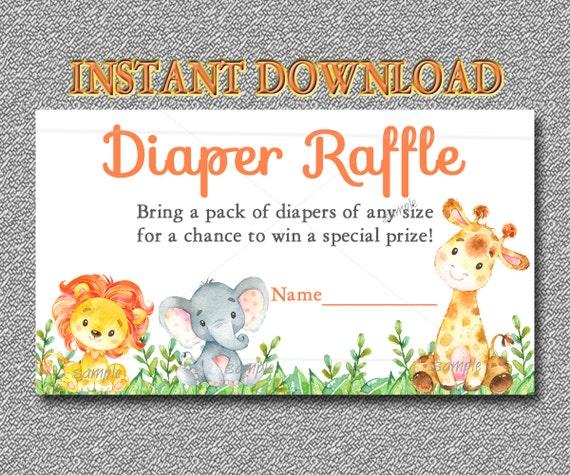 Safari Diaper Raffle Card Printable Safari Baby Shower Etsy