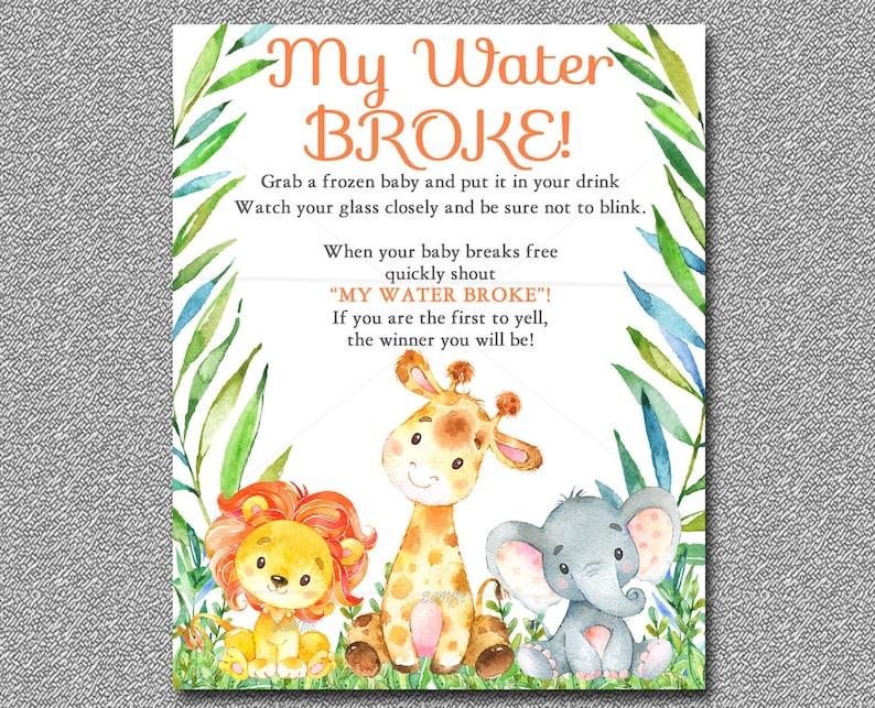Safari Baby Shower Game My Water Broke Game Sign Printable Etsy