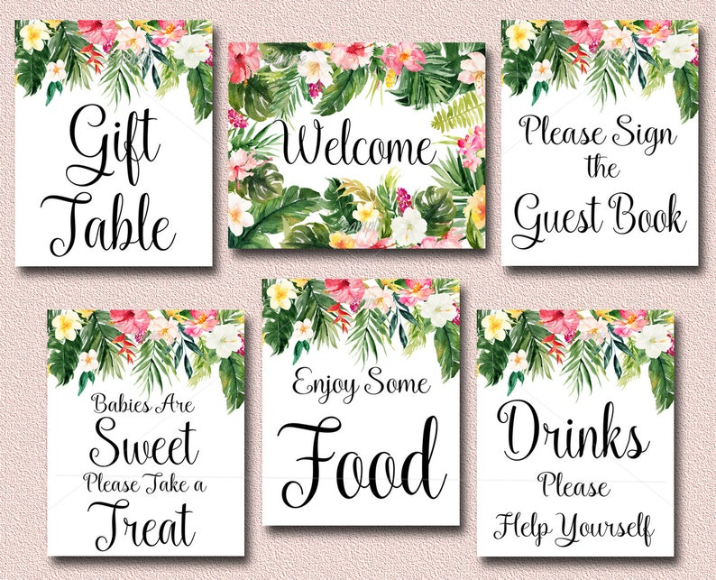 2672374621a47 Tropical Baby Shower Table Signs, Set of 6 Printable Luau Baby Shower Signs  INSTANT, Welcome, Drinks, Food, Gifts, Treat, Guest Book 040