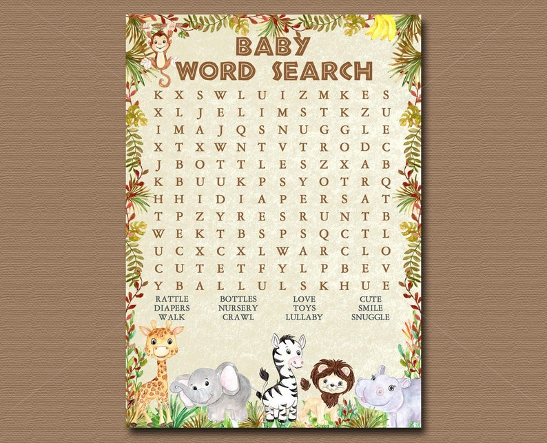 Jungle Animals Baby Shower Game Word Search Game Printable Etsy