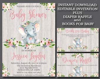 Girl Elephant Baby Shower Invitation kit, Editable elephant Invitation Rustic Invitation template Book for Baby & Diaper Raffle suite,   052