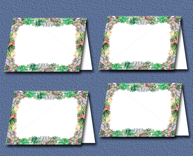Succulent Food Tent Cards or Place Cards Baby Shower or Bridal shower Printable,Watercolor Succulent Baby shower INSTANT DOWNLOAD 039