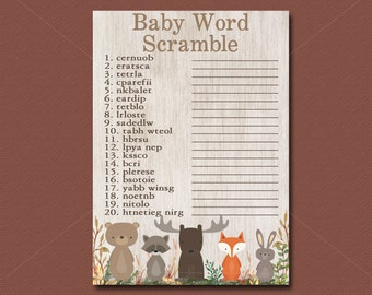 Woodland Baby Shower Game, Word Scramble Game, Printable Woodland Shower game, Forest Animals Baby Shower game Instant Download - 016