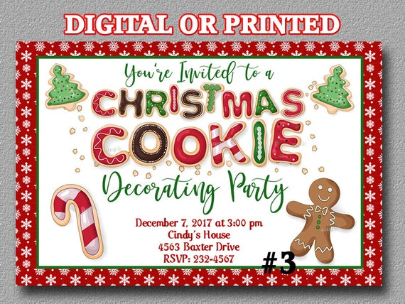 Christmas Cookie Party Invite.Christmas Cookie Decorating Invitation Christmas Cookie Decorating Party Cookie Invite Holiday Cookie Decorating You Print Or Printed