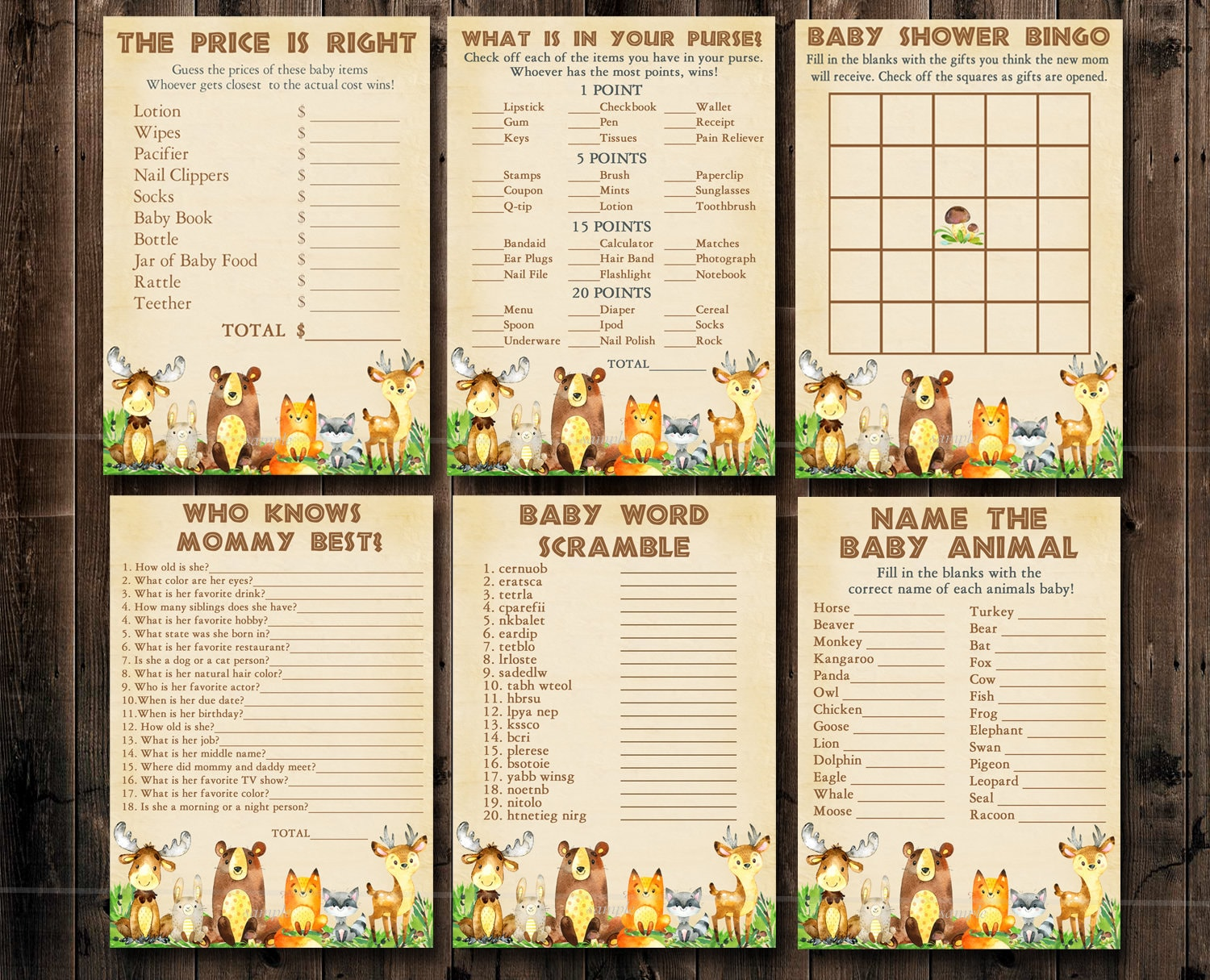 Woodland Baby Shower Games, 6 Printable forest animal Game package,  Woodland game pack, Bingo, scramble Party Pack Instant Download 010