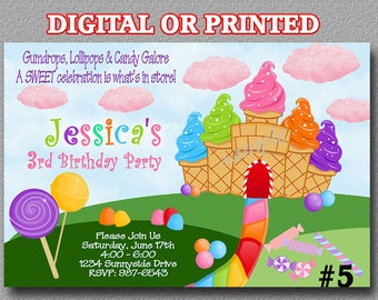 Candyland invitation YOU Print Digital File or PRINTED  Birthday Party Invitation Candy land Party Printable invite