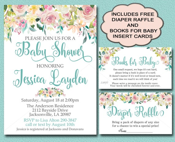 Floral Baby Shower Invitation Books For Baby And Diaper Etsy