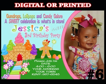 Candyland invitation YOU Print Digital File or PRINTED  Birthday Party Invitation Candy land Party Printable Photo invite