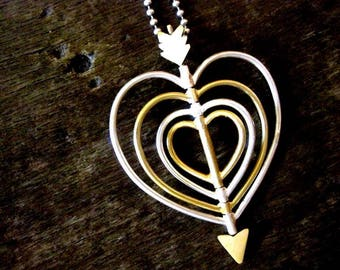 Necklace, heart with arrow, in silver 925