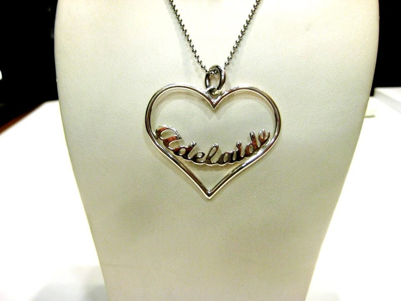 silver pendant heart shape with your name