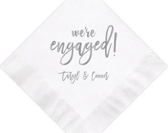 Custom Monogram Wedding Napkins Custom Engagement Party Napkins Flourish Monogram Wedding Napkins Personalized Party Napkins