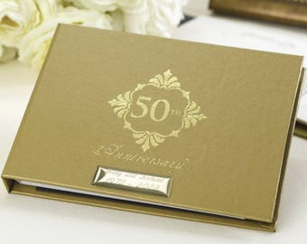 Personalised Golden Wedding Anniversary Guest Book And Album Set