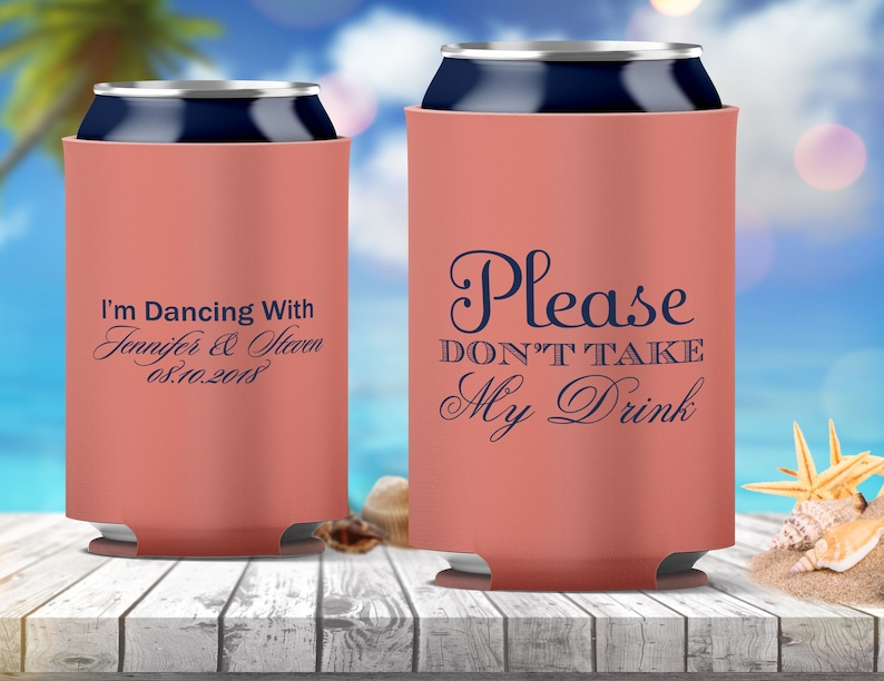 We can also use your custom artwork  logo! 26 Colors Avail Personalized Can Hugger Cooler Wedding Favors Printed Coolie Custom Monogram