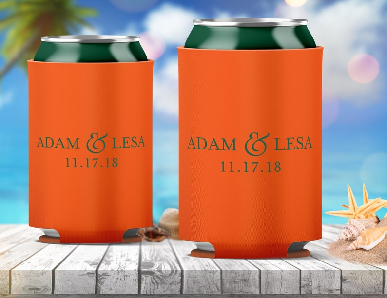 26 Colors Avail We can also use your custom artwork  logo! Personalized Can Hugger Cooler Wedding Favors Printed Coolie Custom Monogram