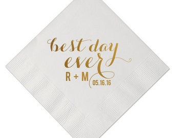 Personalized Wedding Napkins Custom Printed Monogram Paper Best Day Ever Beverage Cocktail Luncheon Dinner Guest Towels Available