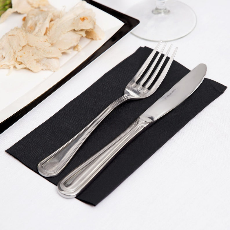 Package of 50-3 ply Napkins Beverage Luncheon Guest Dinner Solid Color  No Printing Black Plain Many More Colors