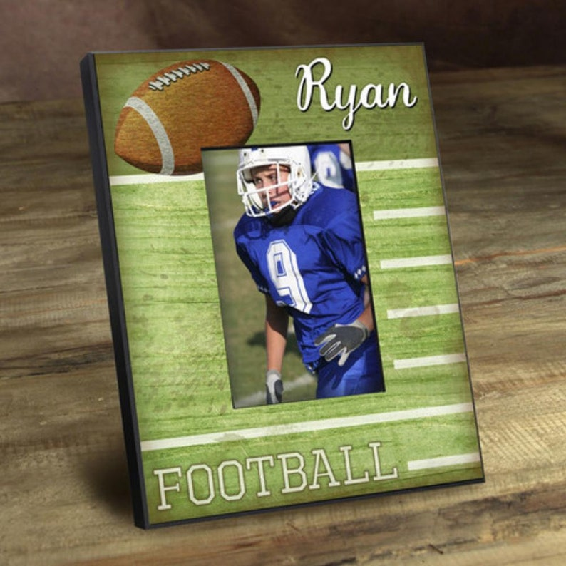 5718838bc7a Personalized picture frames kids sports touch down monogrammed