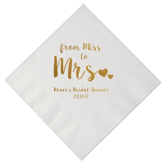 100 personalized napkins bridal shower from miss to mrs custom etsy