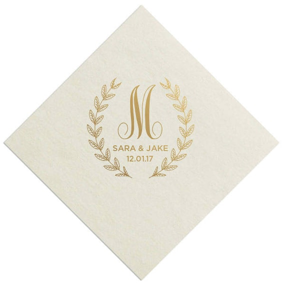100 personalized wedding napkins custom monogram rustic
