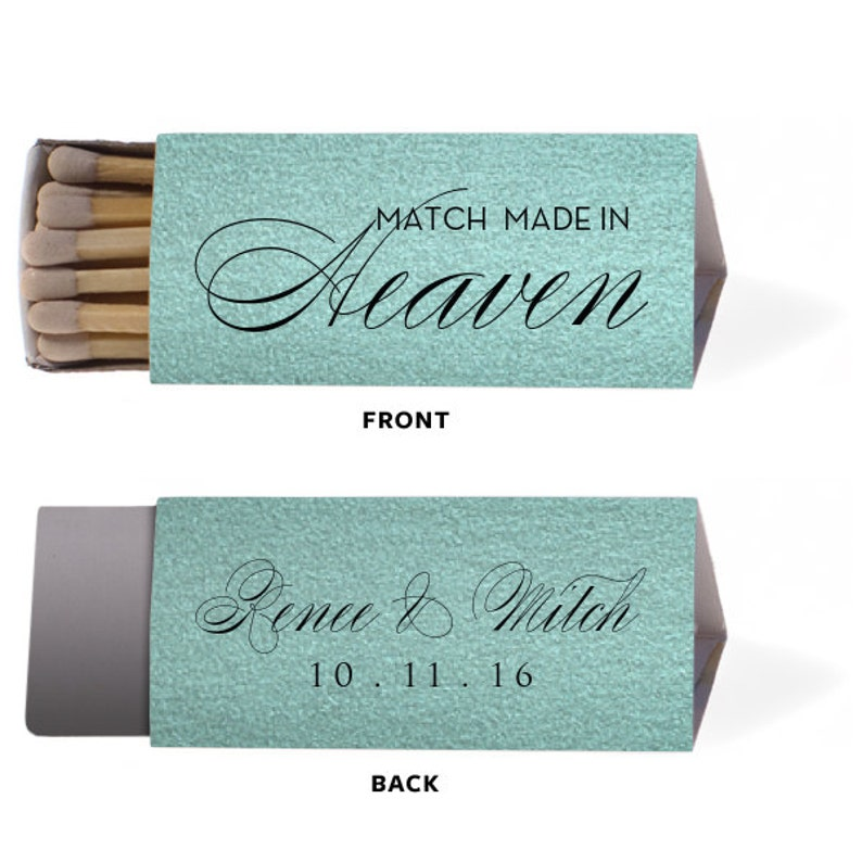 Match Made in Heaven Elegant Matches Personalized Wedding Matches Matchbook Match Book Triangle Matches Custom Lots of Colors and Designs