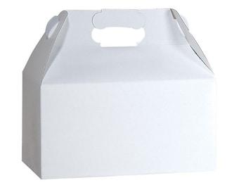 "12 - White Gloss Gable Boxes Box 9 1/2"" x 5"" x 5"" ~  9 1/2 x 5 x 5 Gift Favor DIY Packaging"