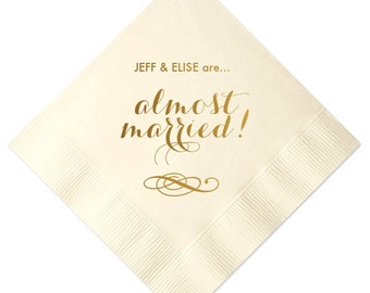 100 Personalized Wedding Napkins Beverage Cocktail Luncheon Dinner Guest Towel Custom Monogram Rehearsal Dinner Almost Married