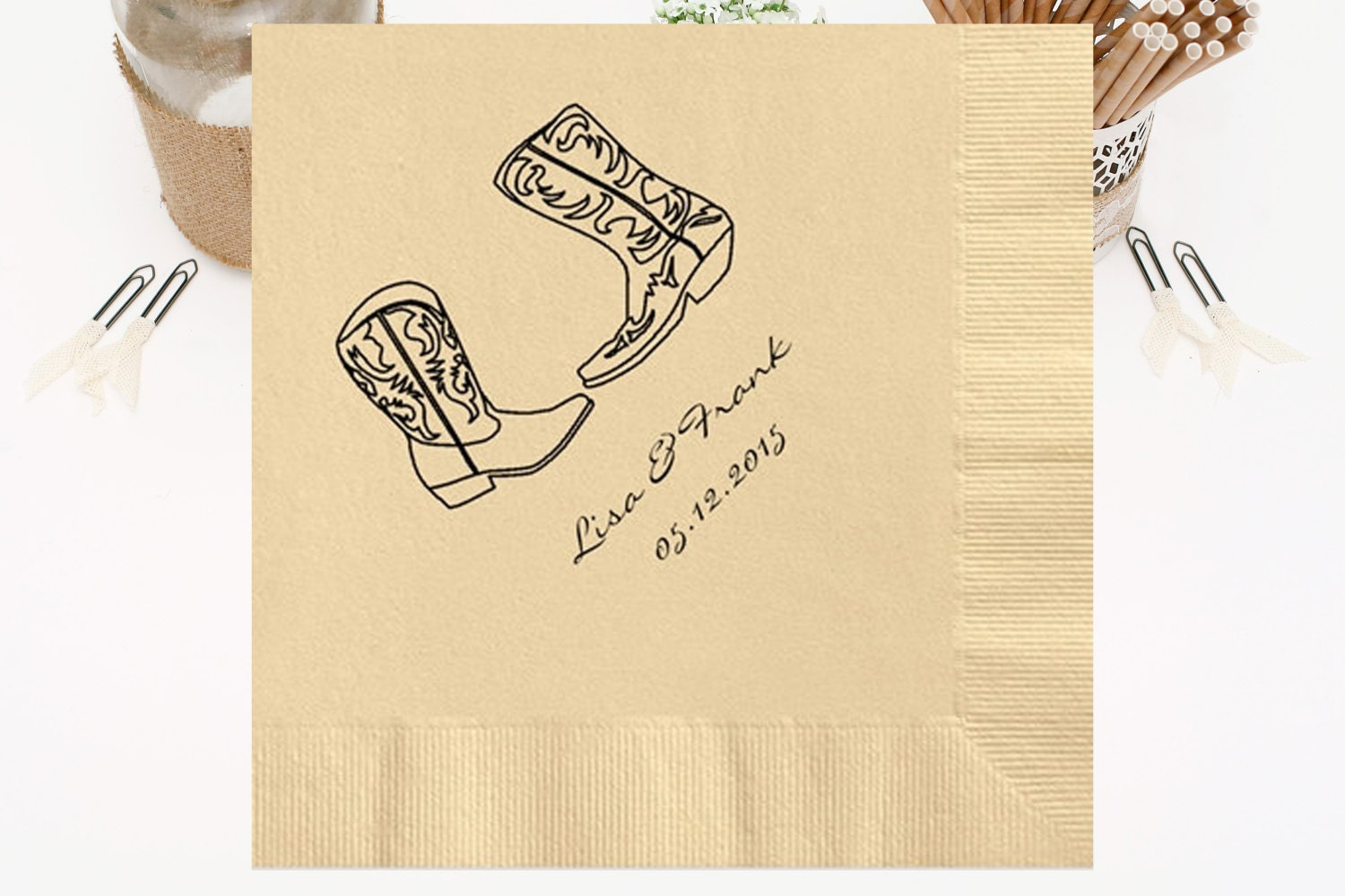 Personalized Napkins Beverage & Luncheon Size Available Wedding Napkins Shower Engagement Custom Monogram Cowboy Boots Rustic Western