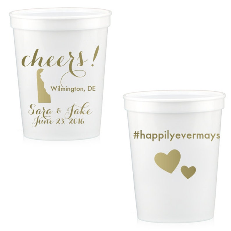 50-16 oz Personalized Custom Stadium Cups State of Deleware Wedding Monogram Monogrammed Plastic Cups Drinks Favors We have all states!