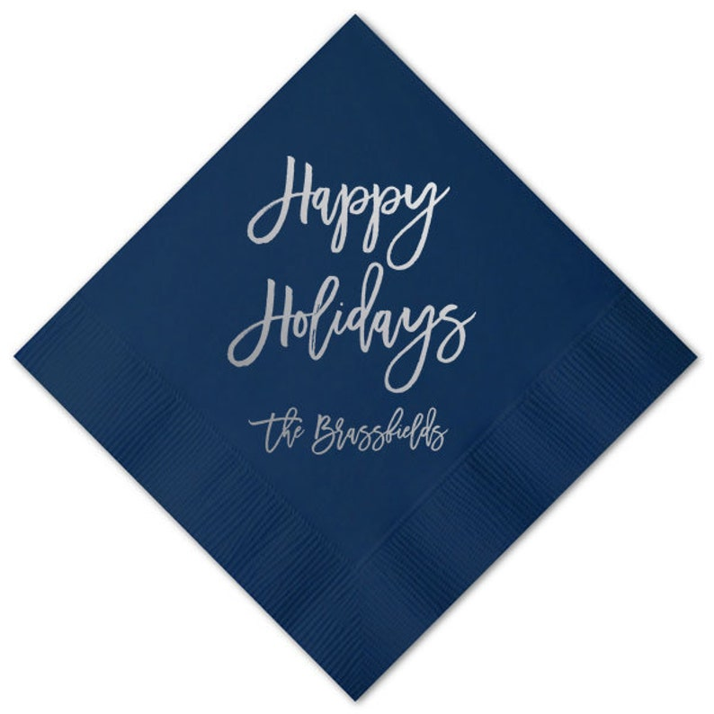 Personalized Napkins Personalized Christmas Hanukkah Napkins Holiday Party Custom Printed Red Cocktail Luncheon Guest Towel Beverage