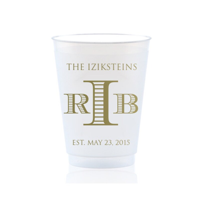 Shatterproof Frosted Frost 100 Flex Cups Personalized Custom Monogram Initials Imprinted Wedding Party Cookout BBQ Engagement ALL SIZES