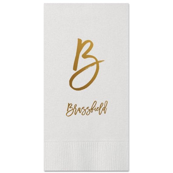 100 Personalized Guest Towels Dinner Napkins Wedding Paper Hostess Gift Monogram Monogrammed Custom Printed Bathroom Napkins Hand Towels