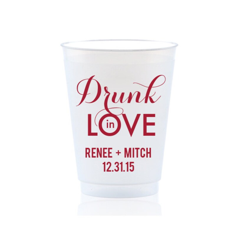 Shatterproof Frosted Frost 50 Flex Cups Personalized Custom Monogram Initials Imprinted Wedding Party Cookout BBQ Engagement ALL SIZES