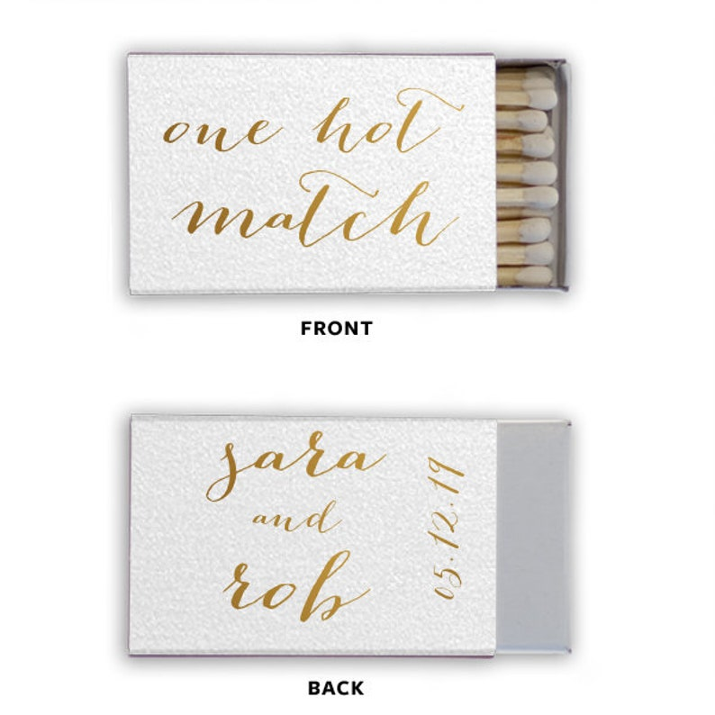 Personalized Wedding Matches Matchbook Match Book Custom Printed Lots of Matchbook Colors and Print Colors Connecting Heart Design