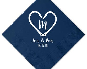 100 Fishing Theme Hooks Heart Wedding Napkins Monogram Custom Personalized Napkins Party Paper Cocktail Luncheon Dinner Guest Towels
