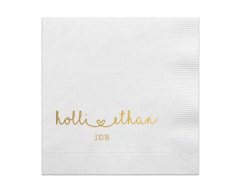 Personalized Wedding Napkins 100 Personalized Heart Connected Monogram Wedding Napkins Custom Bar Napkins Reception LOTS of COLORS Avail!