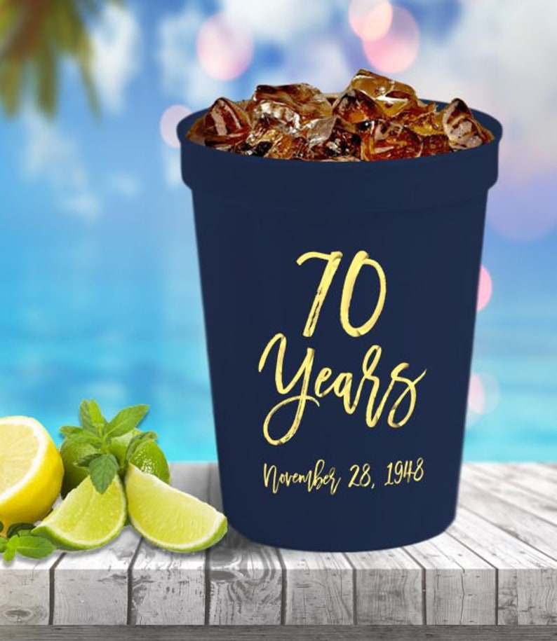 50-16 oz Personalized Custom Stadium Cups Anniversary Party Monogram Logo Artwork Plastic Cups Drinks Favors We can do anything!