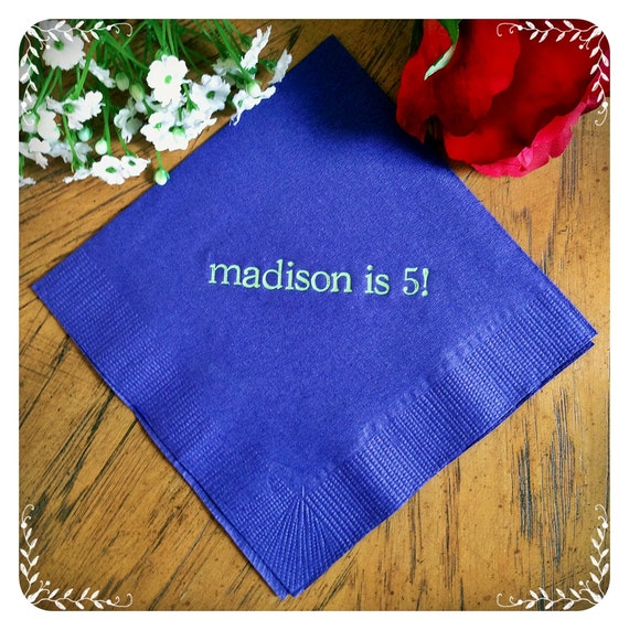 personalized napkins birthday childs children 1st 2nd 3rd 4th etsy