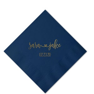 Personalized Wedding Napkins 100 Personalized Heart Connected Cheers Monogram Napkins Custom Bar Napkins Reception LOTS of COLORS Avail!