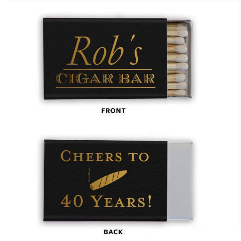 Personalized Man Cave Cigar Bar Men/'s Matches Matchbook Match Book Cheers Birthday Custom Printed Lots of Colors to choose from!