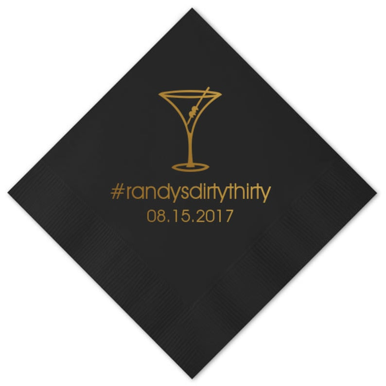 100 Personalized Napkins Birthday Napkins Dirty Martini Hash Tag Hashtag Custom Printed Monogram Beverage Luncheon Dinner Guest Towel