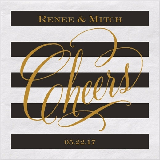 Black And Gold Beverage Napkins: Personalized Napkins Cheers Black And White Striped With