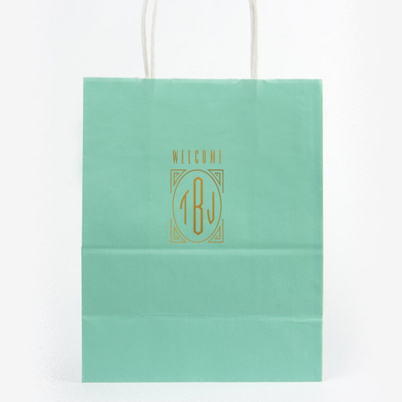 Wedding Welcome Bags Hotel Personalized Foil Imprinting Destination Wedding Guest Bags Paper Tote Bag Foil Stamped Quality Classy Bags