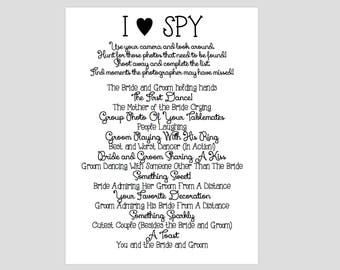 Instant Download - BLACK - I Spy Wedding Game