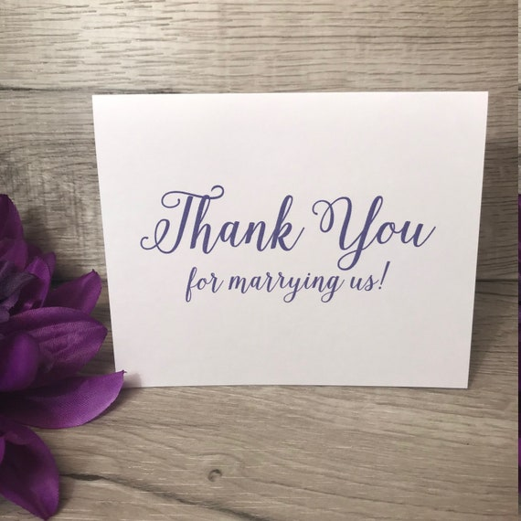 Thank You For Marrying Us Wedding Thank You Card For Minister Rabbi Priest Officiant