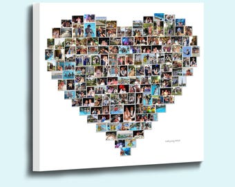 Fantastic Personalised Heart Shaped Photo Collage Box Framed Canvas Print Montage