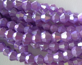 80 Crystal Lavender Faceted Crystal Bicone beads 4mm