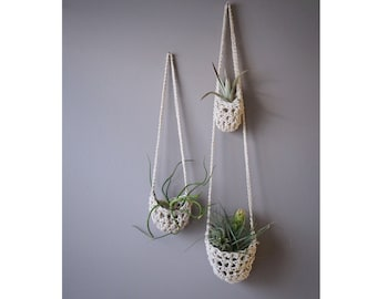 Hanging Planter, Boho Decor, Air Plant Holder, Tillandsia Pod, Vertical Garden, Air Plant Pod, Cotton Plant Hanger, Plant Basket