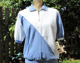 31e85020628de Vintage white blue cotton zipper collar golf blouse top. DonnKenny Classics.  Size Large. Cute top! 1980s.