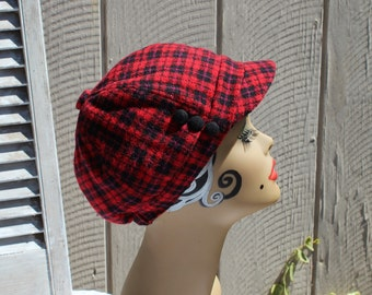 Vintage red black plaid three buttons checker plaid slouchy hat cap.  Adorable hat! 1990s. Grunge. Cute hat. Nice and clean! 8754c02c397